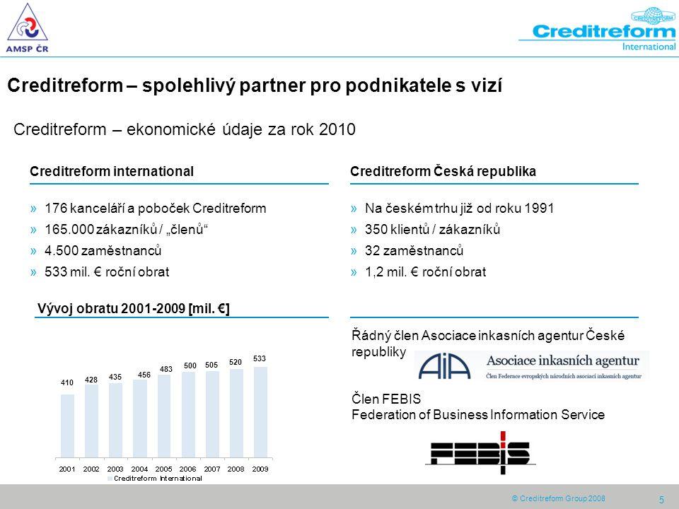 5 Creditreform – spolehlivý partner pro podnikatele s vizí Creditreform Česká republika »Na českém trhu již od roku 1991 »350 klientů / zákazníků »32 zaměstnanců »1,2 mil.