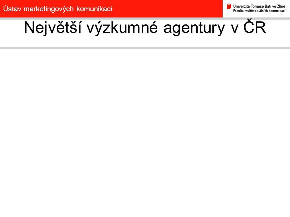 Ústav marketingových komunikací Největší výzkumné agentury v ČR