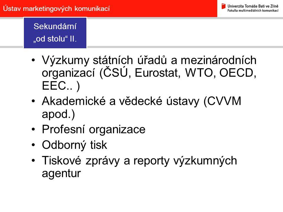 """Ústav marketingových komunikací Sekundární """"od stolu II."""