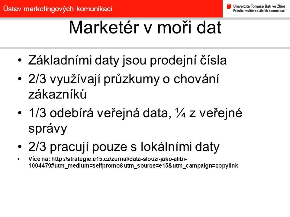 Ústav marketingových komunikací Marketér v moři dat Základními daty jsou prodejní čísla 2/3 využívají průzkumy o chování zákazníků 1/3 odebírá veřejná data, ¼ z veřejné správy 2/3 pracují pouze s lokálními daty Více na: http://strategie.e15.cz/zurnal/data-slouzi-jako-alibi- 1004479#utm_medium=selfpromo&utm_source=e15&utm_campaign=copylink