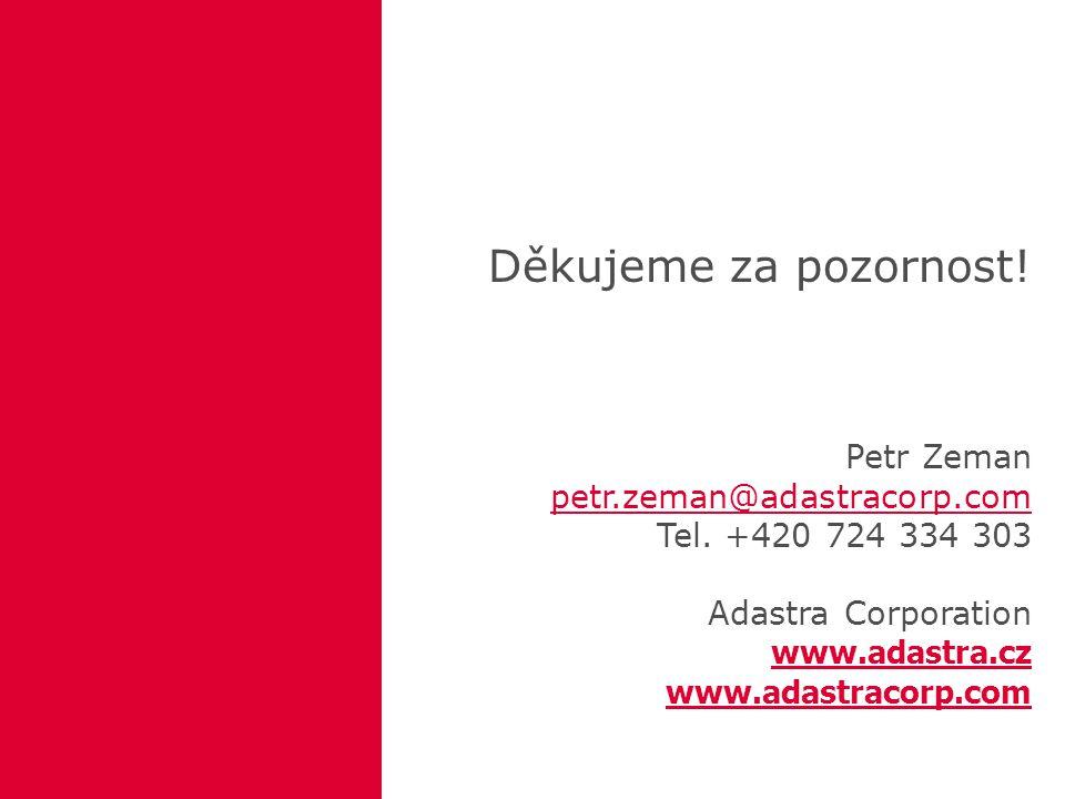 Děkujeme za pozornost. Petr Zeman petr.zeman@adastracorp.com Tel.