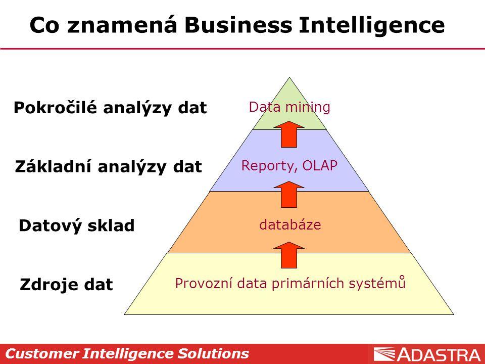 Customer Intelligence Solutions Co znamená Business Intelligence Zdroje dat Datový sklad Základní analýzy dat Pokročilé analýzy dat Provozní data primárních systémů databáze Reporty, OLAP Data mining