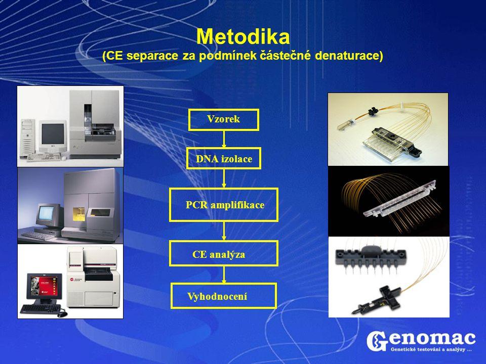 Metodika (CE separace za podmínek částečné denaturace) DNA izolace CE analýza Vzorek PCR amplifikace Vyhodnocení