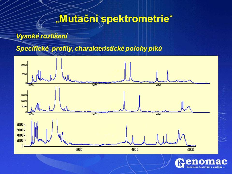 """""""Mutační spektrometrie"""" Vysoké rozlišení Specifické profily, charakteristické polohy píků"""