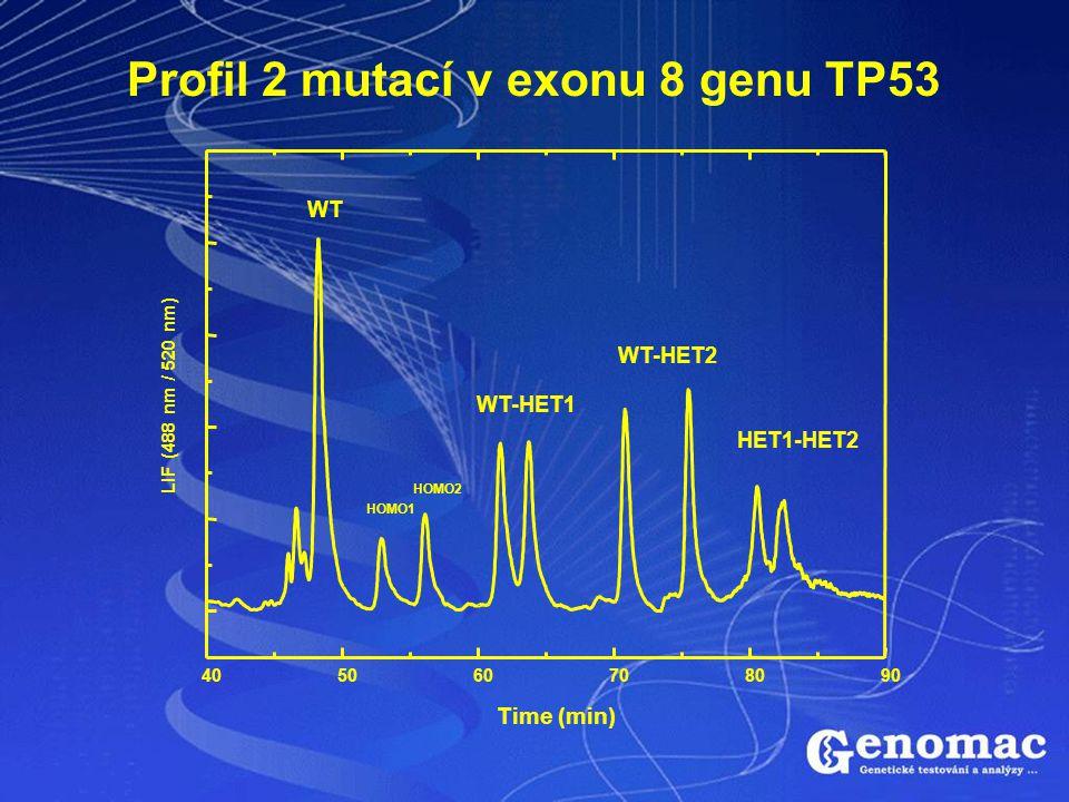 405060708090 HET1-HET2 WT-HET2 WT-HET1 HOMO2 HOMO1 WT LIF (488 nm / 520 nm) Time (min) Profil 2 mutací v exonu 8 genu TP53