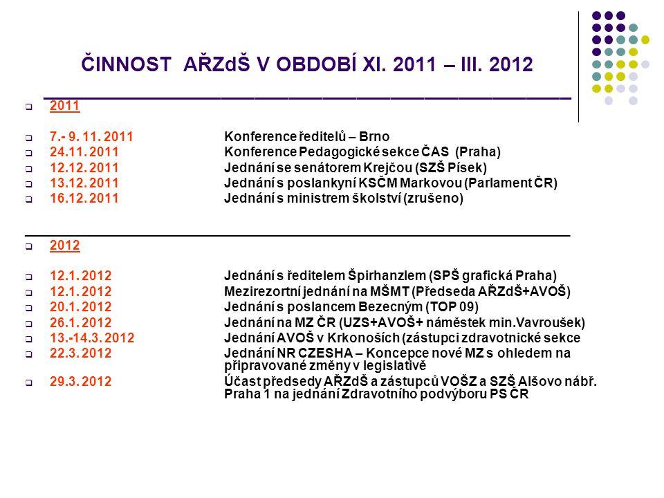 ČINNOST AŘZdŠ V OBDOBÍ XI. 2011 – III. 2012 _______________________________________________  2011  7.- 9. 11. 2011Konference ředitelů – Brno  24.11