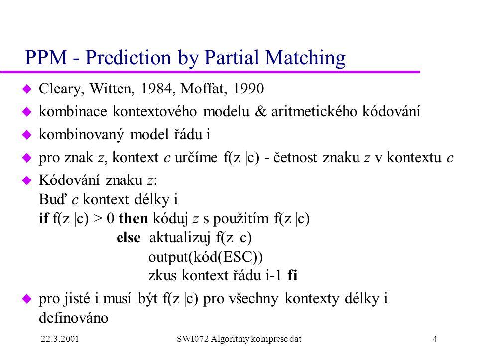 22.3.2001SWI072 Algoritmy komprese dat5 PPM - pokračování u Jak definovat f(z  c).