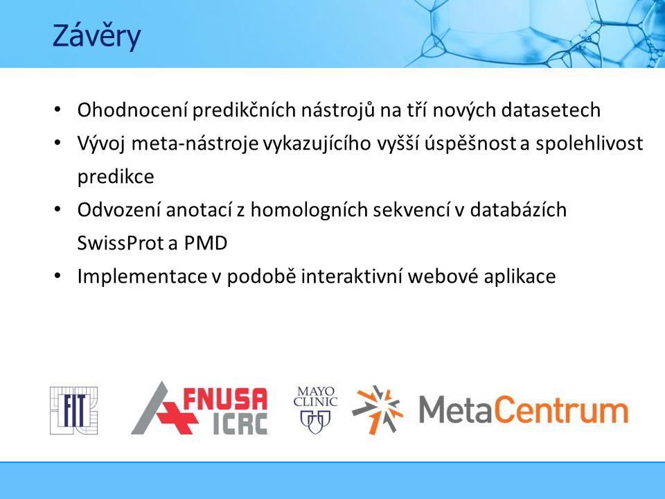 Závěry Ohodnocení predikčních nástrojů na tří nových datasetech Vývoj meta-nástroje vykazujícího vyšší úspěšnost a spolehlivost predikce Odvození anotací z homologních sekvencí v databázích SwissProt a PMD Implementace v podobě interaktivní webové aplikace
