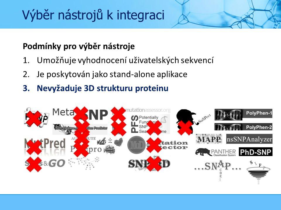 Výběr nástrojů k integraci Podmínky pro výběr nástroje 1.Umožňuje vyhodnocení uživatelských sekvencí 2.Je poskytován jako stand-alone aplikace 3.Nevyžaduje 3D strukturu proteinu