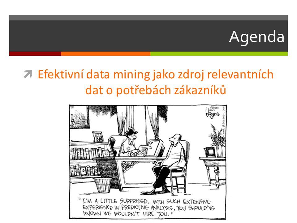 Agenda  Efektivní data mining jako zdroj relevantních dat o potřebách zákazníků