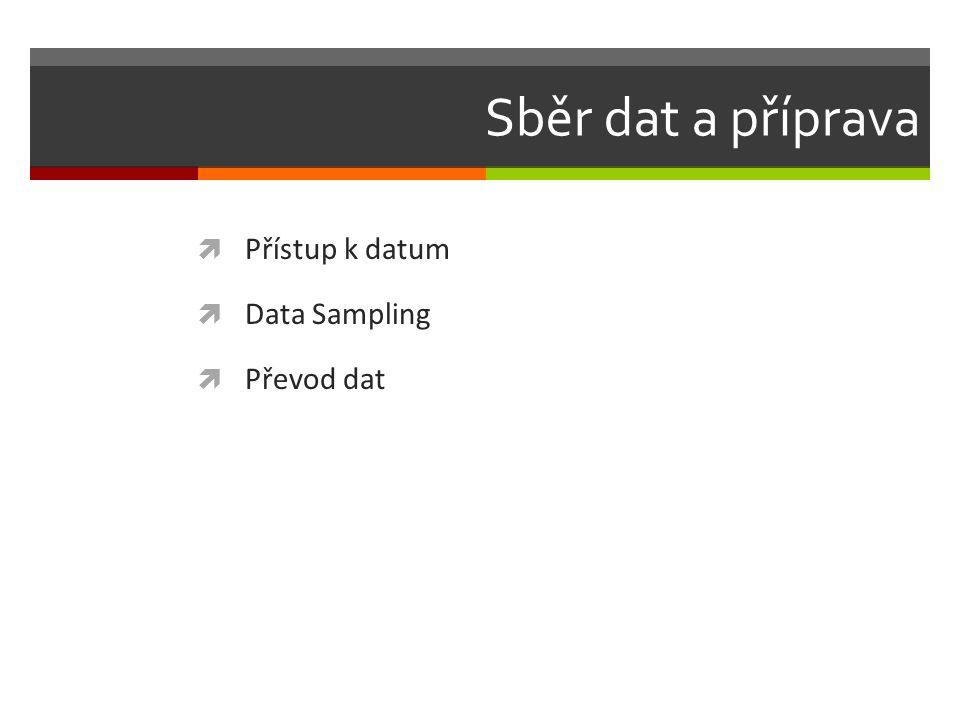 Sběr dat a příprava  Přístup k datum  Data Sampling  Převod dat