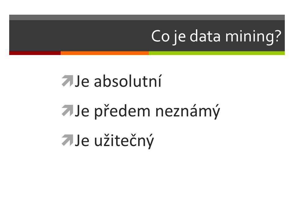 Co je data mining?  Je absolutní  Je předem neznámý  Je užitečný