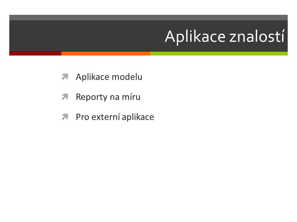 Aplikace znalostí  Aplikace modelu  Reporty na míru  Pro externí aplikace