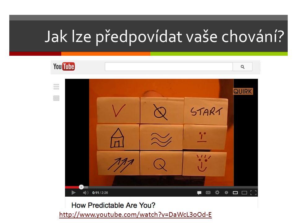 Jak lze předpovídat vaše chování? http://www.youtube.com/watch?v=DaWcL3oOd-E