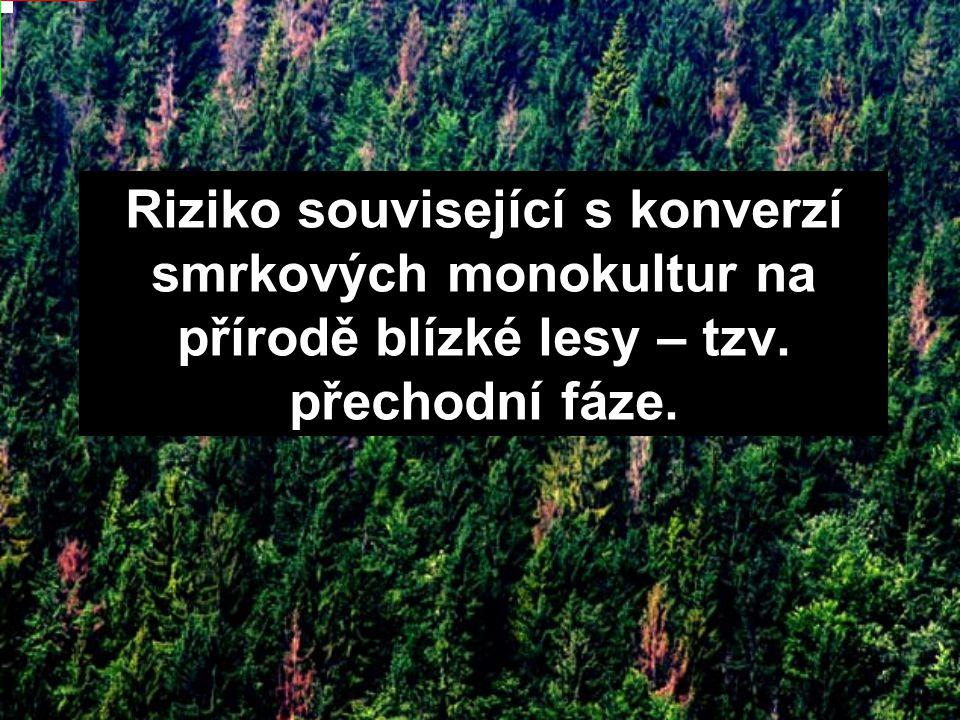 Riziko související s konverzí smrkových monokultur na přírodě blízké lesy – tzv. přechodní fáze.
