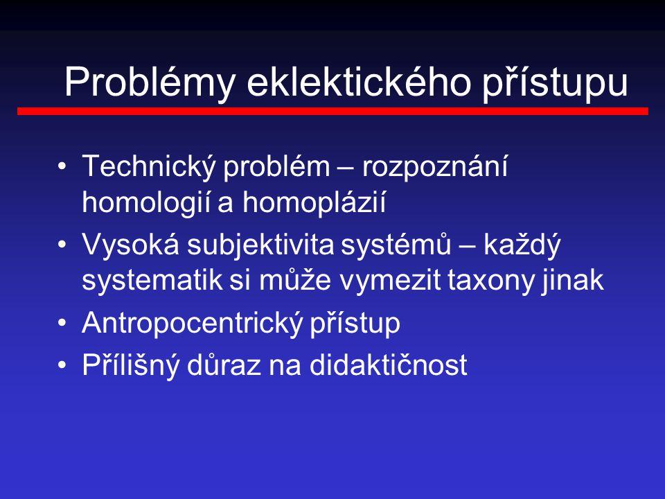 Problémy eklektického přístupu Technický problém – rozpoznání homologií a homoplázií Vysoká subjektivita systémů – každý systematik si může vymezit ta