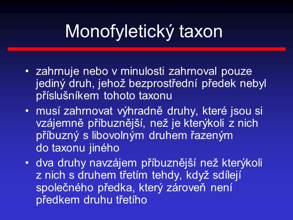 Monofyletický taxon zahrnuje nebo v minulosti zahrnoval pouze jediný druh, jehož bezprostřední předek nebyl příslušníkem tohoto taxonu musí zahrnovat