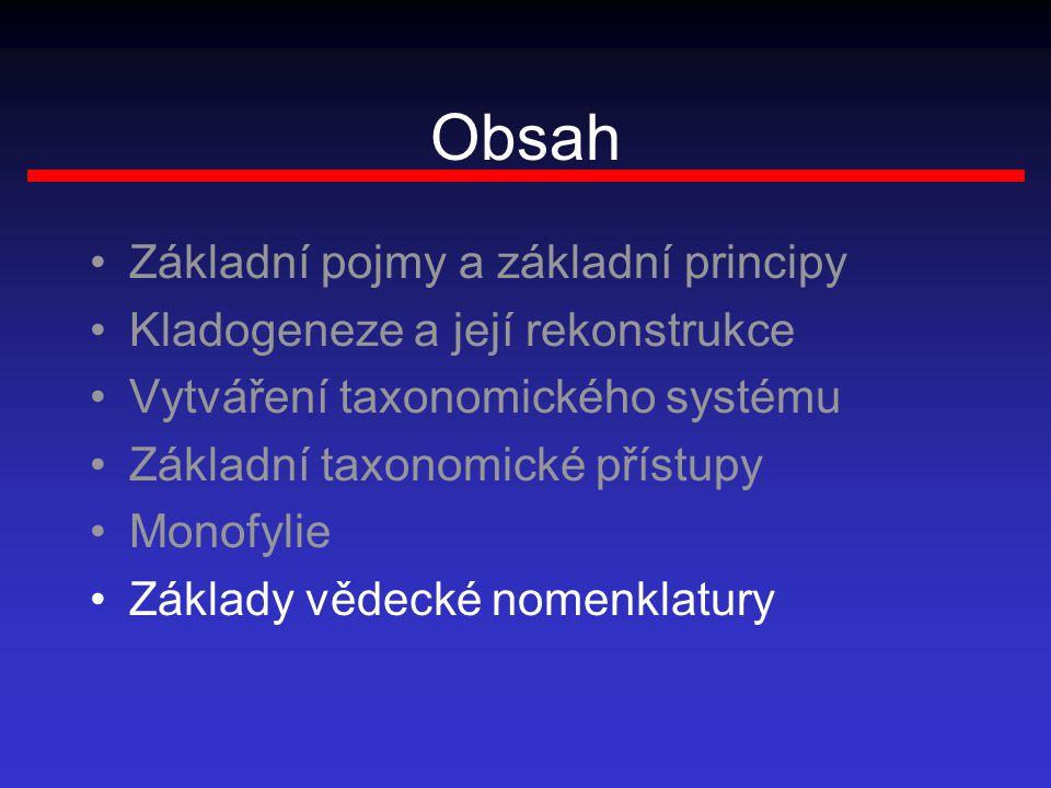 Obsah Základní pojmy a základní principy Kladogeneze a její rekonstrukce Vytváření taxonomického systému Základní taxonomické přístupy Monofylie Zákla