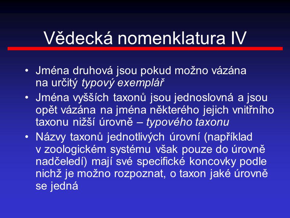 Vědecká nomenklatura IV Jména druhová jsou pokud možno vázána na určitý typový exemplář Jména vyšších taxonů jsou jednoslovná a jsou opět vázána na jm