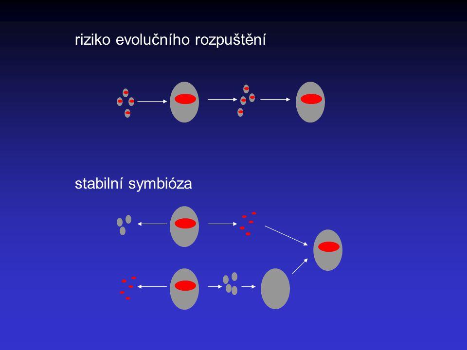 riziko evolučního rozpuštění stabilní symbióza