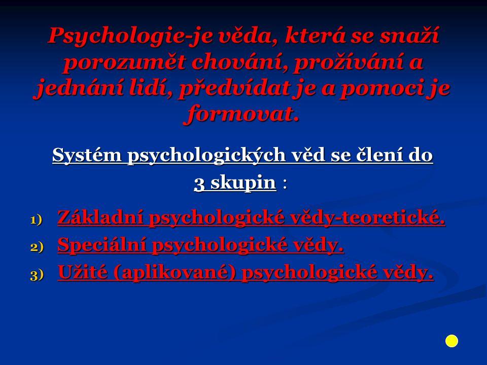 Psychologie-je věda, která se snaží porozumět chování, prožívání a jednání lidí, předvídat je a pomoci je formovat.