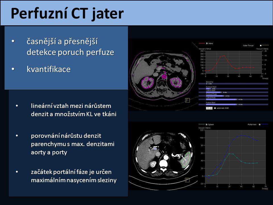 Volumové perfuzní CT Dynamické vyšetření celého objemu jater Dynamické vyšetření celého objemu jater kolimace: 1.2 mm objem KL : 40 ml aplikační rychlost: 5-6 ml/s maximální rozsah: 20 cm 25 cyklů (25 sérií řezů) perioda 2,5 s pacient mělce dýchá Kyvadlový mód