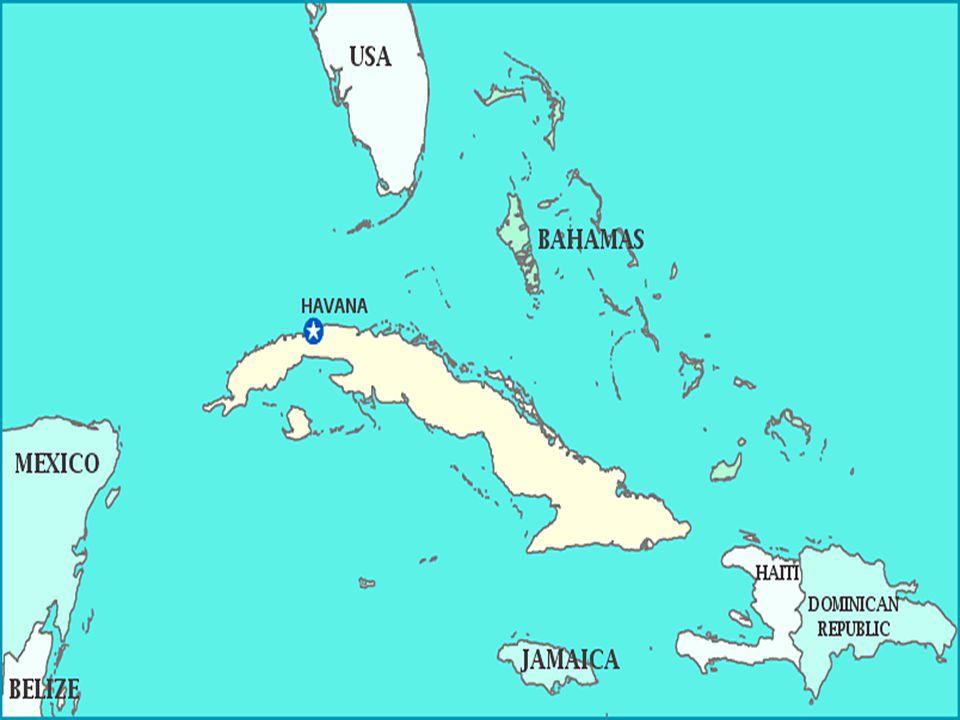 Historie roku 1492 objevil Kubu Kryštof Kolumbus roku 1511 se stala španělskou kolonií, zavedeno otroctví, které bylo zrušeno až 1886 1902 vznikl samostatný stát Kuba 1956 vypuknutí kubánské revoluce: 1959 vítězství revolucionářů -> moci se ujal Fidel Castro -> znárodnění amerických firem -> USA vyhlašuje embargo na vývoz amerických výrobků na Kubu