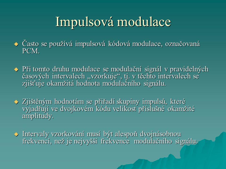 Impulsová modulace  Často se používá impulsová kódová modulace, označovaná PCM.  Při tomto druhu modulace se modulační signál v pravidelných časovýc