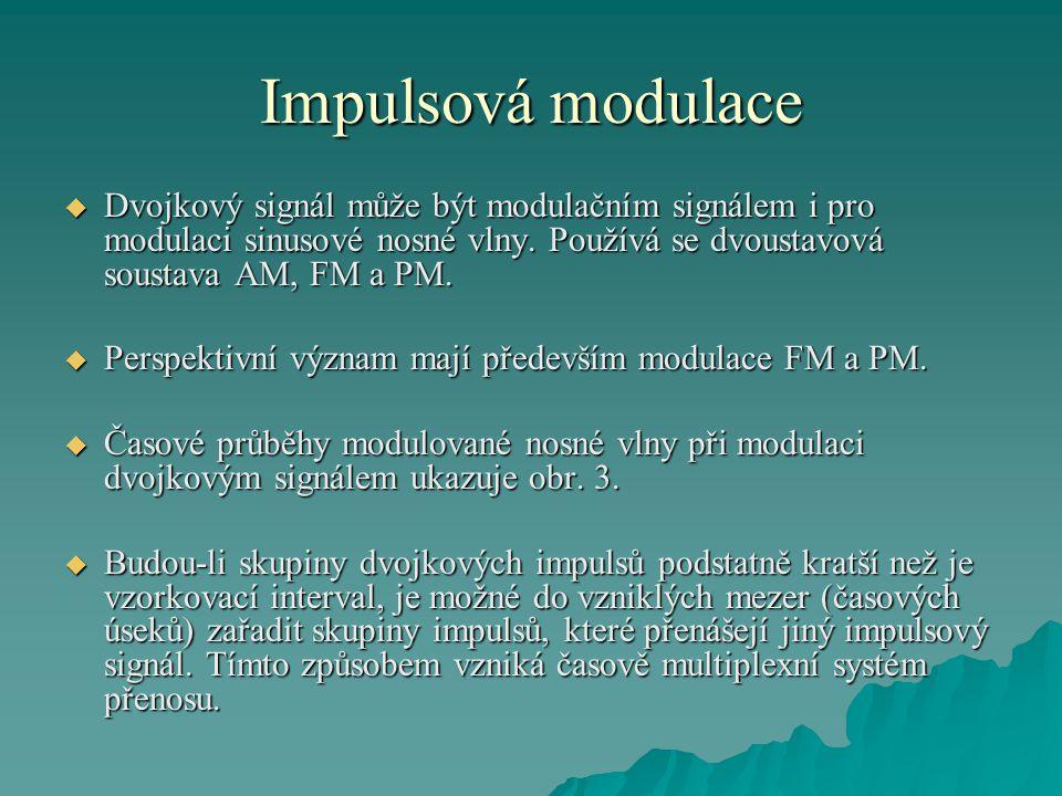Impulsová modulace  Dvojkový signál může být modulačním signálem i pro modulaci sinusové nosné vlny. Používá se dvoustavová soustava AM, FM a PM.  P