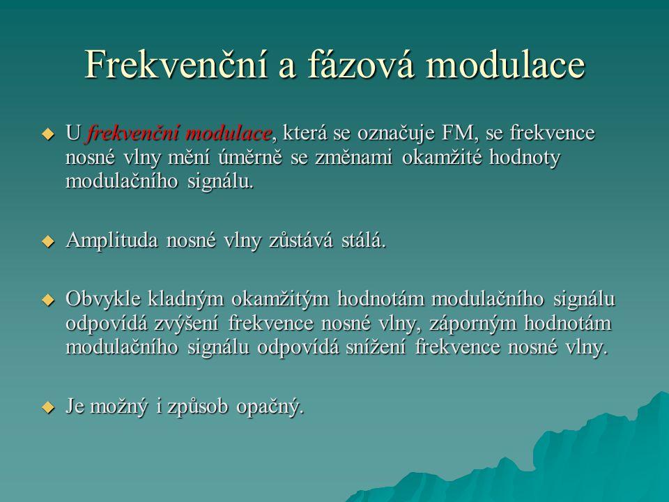 Frekvenční a fázová modulace  U frekvenční modulace, která se označuje FM, se frekvence nosné vlny mění úměrně se změnami okamžité hodnoty modulačníh