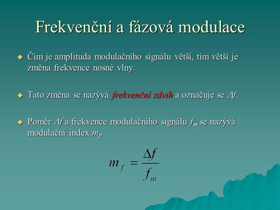 Frekvenční a fázová modulace  Čím je amplituda modulačního signálu větší, tím větší je změna frekvence nosné vlny.  Tato změna se nazývá frekvenční