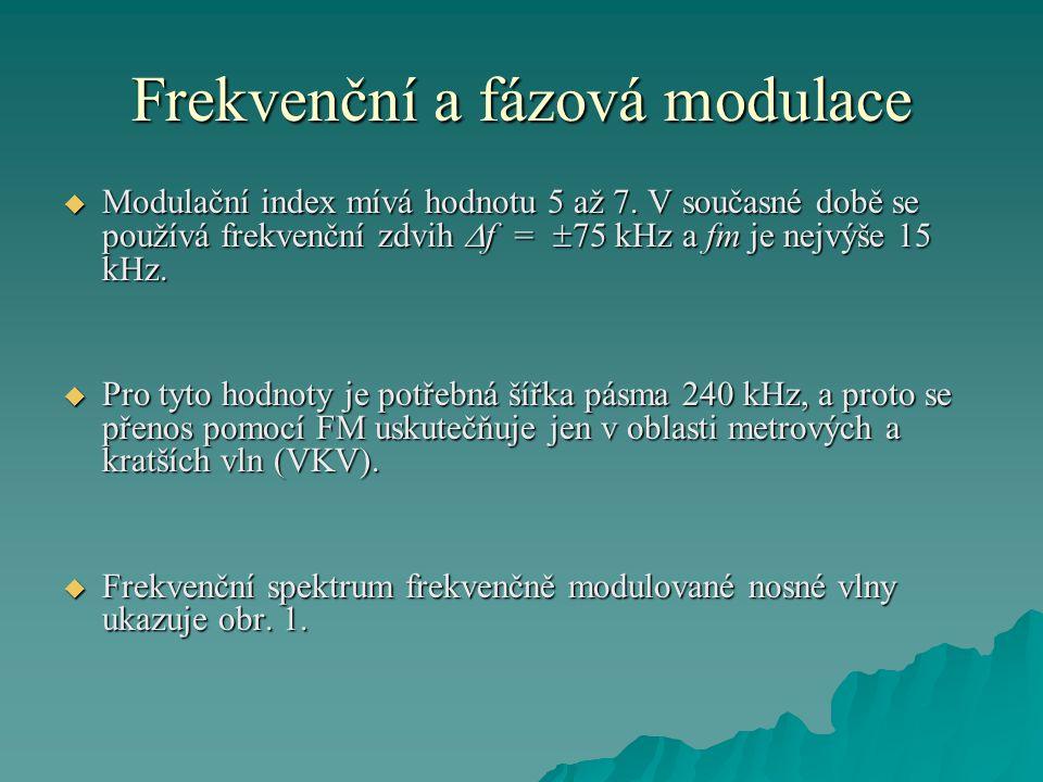 Frekvenční a fázová modulace  Modulační index mívá hodnotu 5 až 7. V současné době se používá frekvenční zdvih  f =  75 kHz a fm je nejvýše 15 kHz.