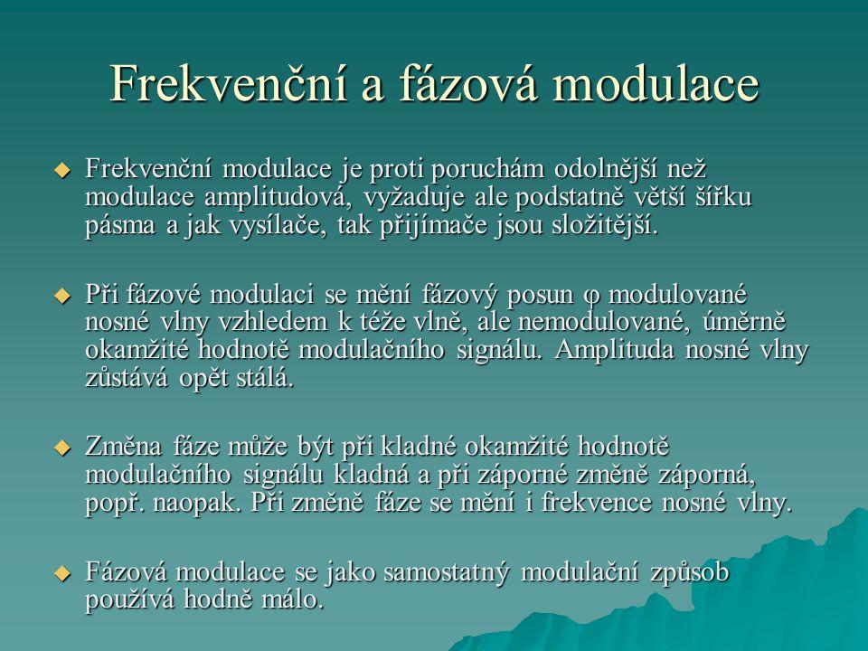 Frekvenční a fázová modulace  Frekvenční modulace je proti poruchám odolnější než modulace amplitudová, vyžaduje ale podstatně větší šířku pásma a ja