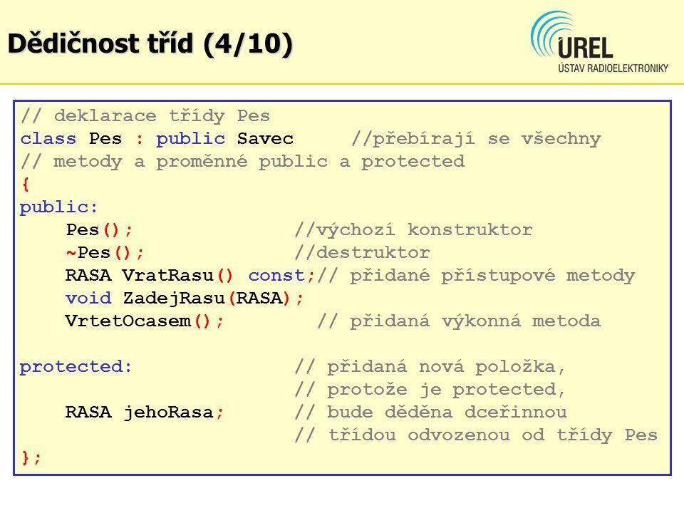 Dědičnost tříd (4/10) // deklarace třídy Pes class Pes : public Savec //přebírají se všechny // metody a proměnné public a protected { public: Pes();//výchozí konstruktor ~Pes(); //destruktor RASA VratRasu() const;// přidané přístupové metody void ZadejRasu(RASA); VrtetOcasem(); // přidaná výkonná metoda protected: // přidaná nová položka, // protože je protected, RASA jehoRasa;// bude děděna dceřinnou // třídou odvozenou od třídy Pes };