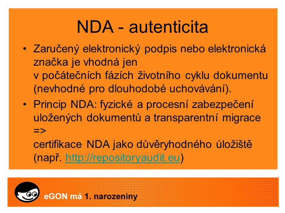 NDA - autenticita Zaručený elektronický podpis nebo elektronická značka je vhodná jen v počátečních fázích životního cyklu dokumentu (nevhodné pro dlouhodobé uchovávání).