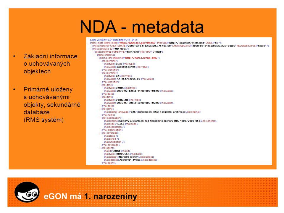 NDA - metadata Základní informace o uchovávaných objektech Primárně uloženy s uchovávanými objekty, sekundárně databáze (RMS systém)