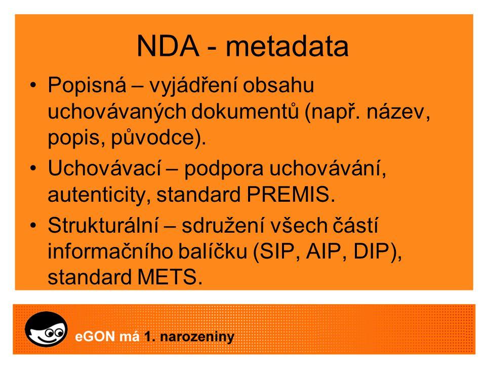 NDA - metadata Popisná – vyjádření obsahu uchovávaných dokumentů (např.
