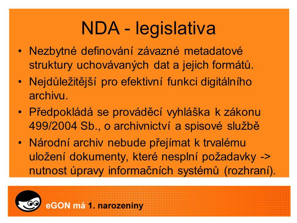 NDA - legislativa Nezbytné definování závazné metadatové struktury uchovávaných dat a jejich formátů.