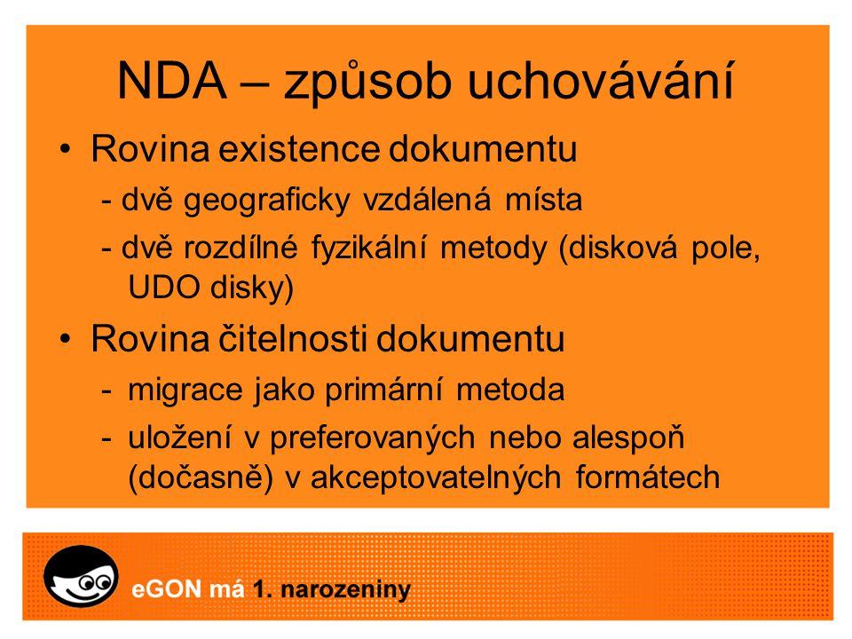 NDA – způsob uchovávání Rovina existence dokumentu - dvě geograficky vzdálená místa - dvě rozdílné fyzikální metody (disková pole, UDO disky) Rovina čitelnosti dokumentu -migrace jako primární metoda -uložení v preferovaných nebo alespoň (dočasně) v akceptovatelných formátech