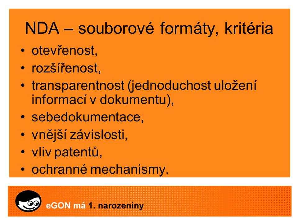 NDA – souborové formáty, kritéria otevřenost, rozšířenost, transparentnost (jednoduchost uložení informací v dokumentu), sebedokumentace, vnější závislosti, vliv patentů, ochranné mechanismy.
