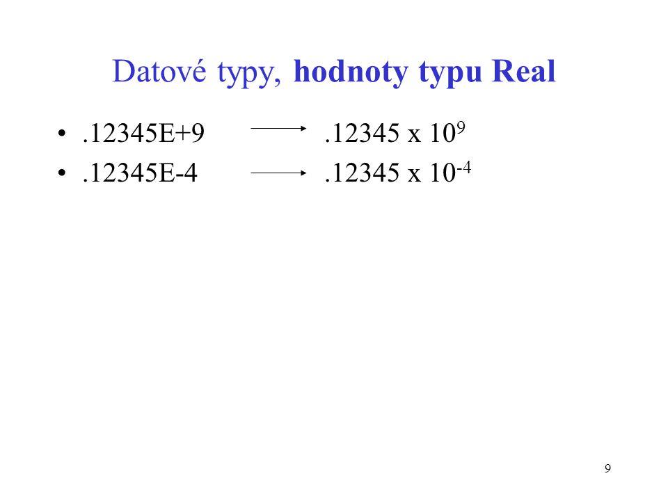 9 Datové typy, hodnoty typu Real.12345E+9.12345 x 10 9.12345E-4.12345 x 10 -4
