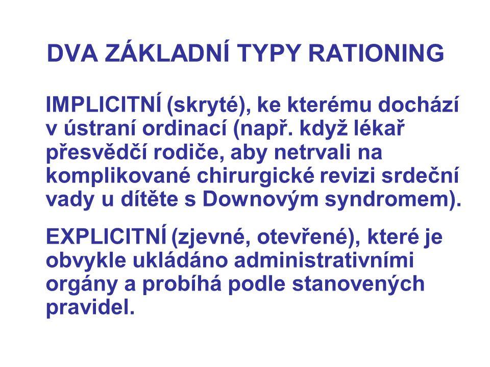 DVA ZÁKLADNÍ TYPY RATIONING IMPLICITNÍ (skryté), ke kterému dochází v ústraní ordinací (např.