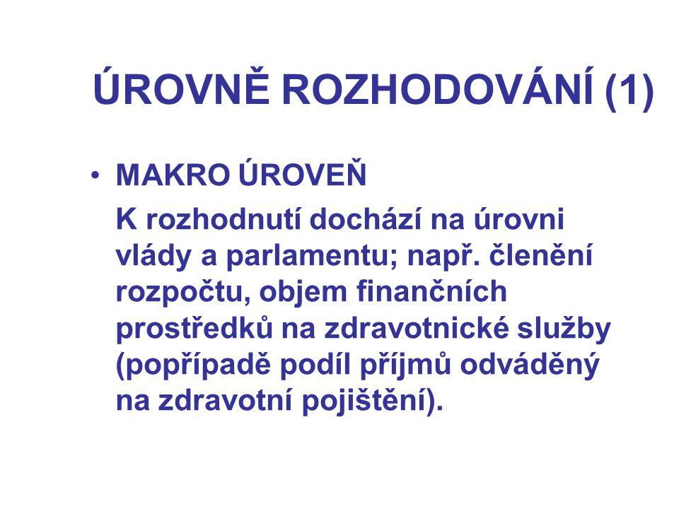 ÚROVNĚ ROZHODOVÁNÍ (1) MAKRO ÚROVEŇ K rozhodnutí dochází na úrovni vlády a parlamentu; např.