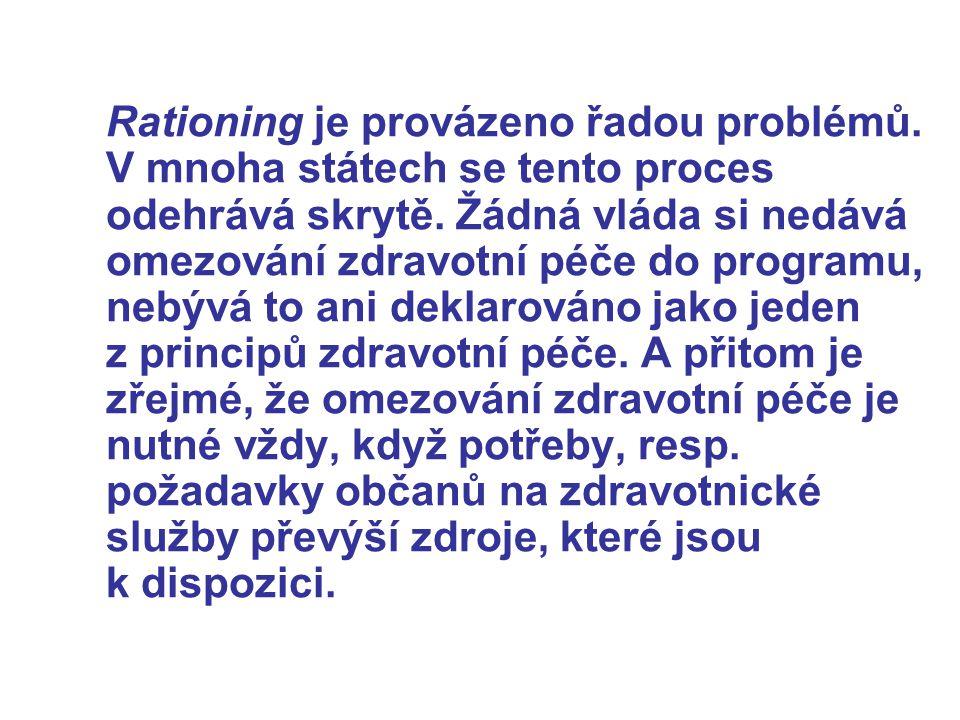 Rationing je provázeno řadou problémů.V mnoha státech se tento proces odehrává skrytě.