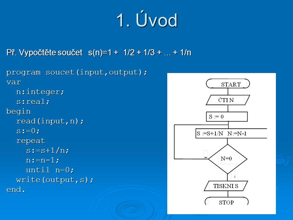 1. Úvod Př. Vypočtěte součet s(n)=1 + 1/2 + 1/3 +... + 1/n program soucet(input,output); var n:integer; n:integer; s:real; s:real;begin read(input,n);