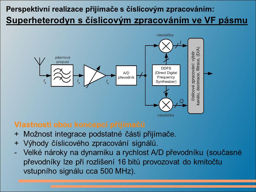 Perspektivní realizace přijímače s číslicovým zpracováním : Superheterodyn s číslicovým zpracováním ve VF pásmu Vlastnosti obou koncepcí přijímačů +Mo