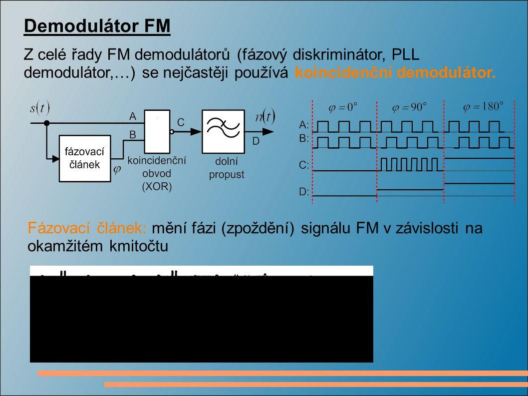 Demodulátor FM Z celé řady FM demodulátorů (fázový diskriminátor, PLL demodulátor,…) se nejčastěji používá koincidenční demodulátor. Fázovací článek: