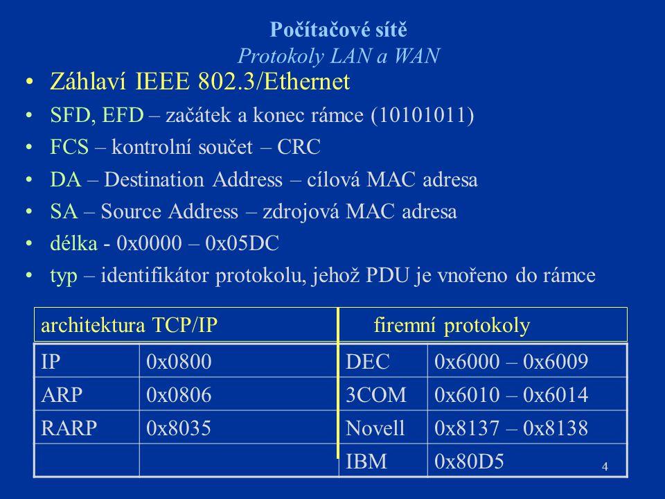 4 Počítačové sítě Protokoly LAN a WAN Záhlaví IEEE 802.3/Ethernet SFD, EFD – začátek a konec rámce (10101011) FCS – kontrolní součet – CRC DA – Destin