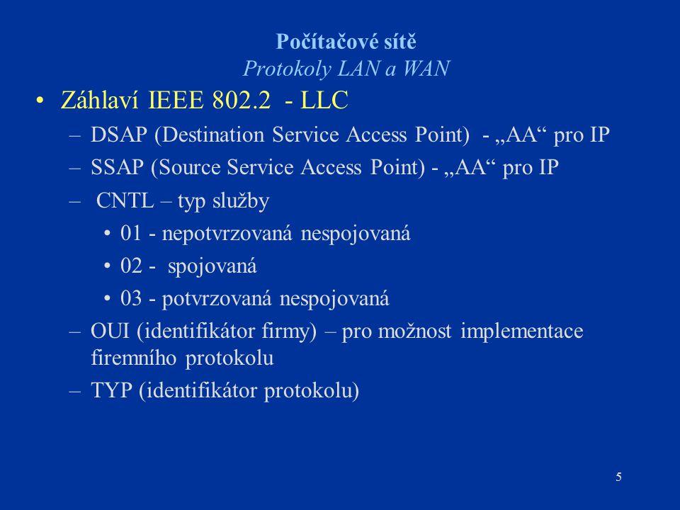 """5 Počítačové sítě Protokoly LAN a WAN Záhlaví IEEE 802.2 - LLC –DSAP (Destination Service Access Point) - """"AA"""" pro IP –SSAP (Source Service Access Poi"""
