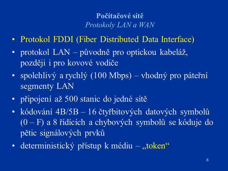 6 Počítačové sítě Protokoly LAN a WAN Protokol FDDI (Fiber Distributed Data Interface) protokol LAN – původně pro optickou kabeláž, později i pro kovo